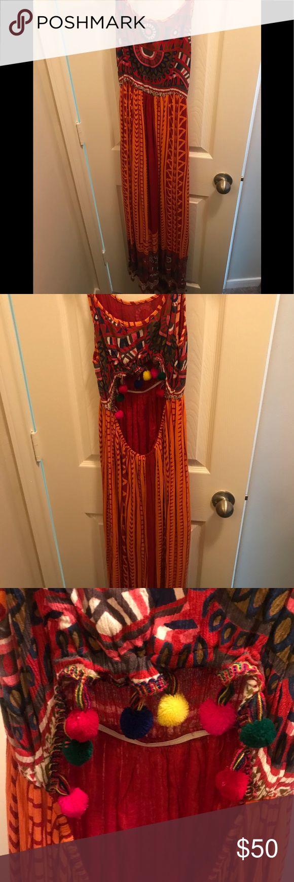 Chelsea & Violet Maxi Pom Pom Dress Beautiful Dress. NWT. Open back with Pom Pom detail Chelsea & Violet Dresses Maxi