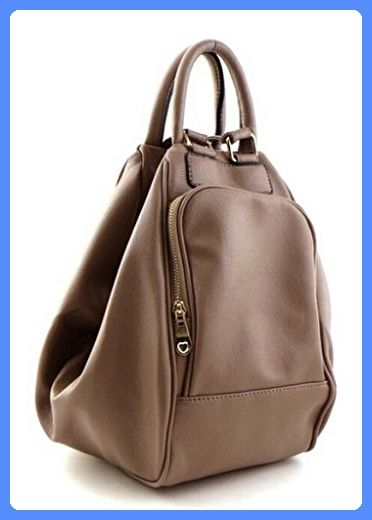 Abbie Brown Women's Faux Leather Convertible Fashion Shoulder Backpack Purse