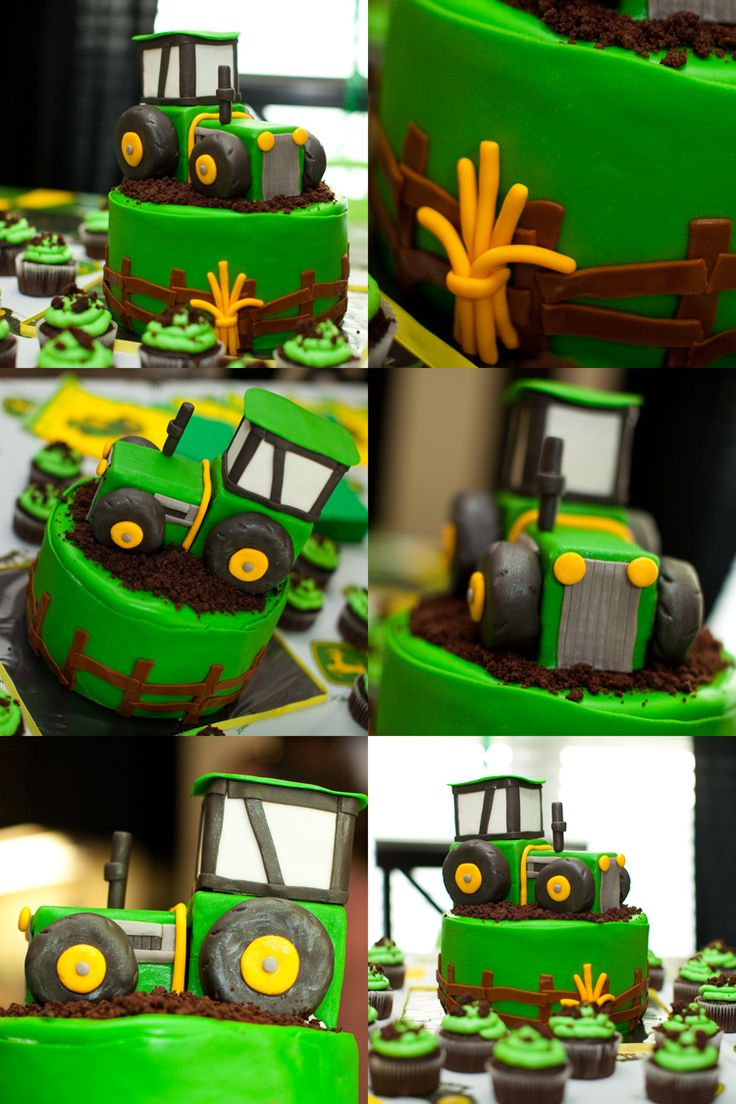 John Deere Birthday Cake idea- The tractor on this is cute but still simple to create.
