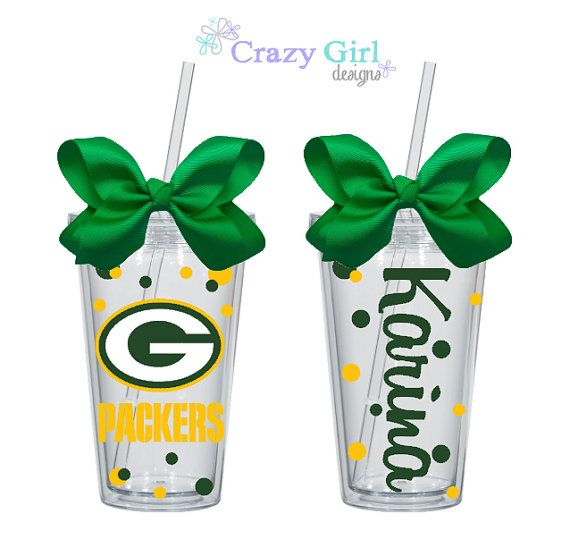 Personalized Green Bay Packers Tumbler with by CrazyGirlDesigns