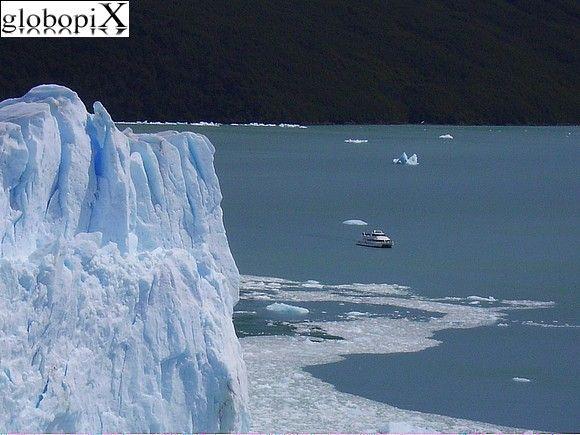 Boat seen from Perito Moreno, Patagonia, Argentina
