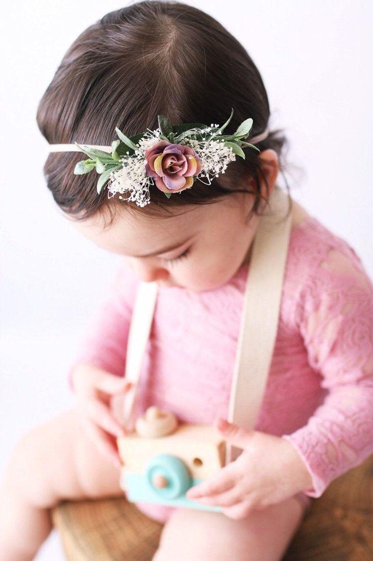 Tieback Flower Crown Elastic Flower Headband Baby Girl Toddler Floral Crown Wreath Newborn Hair Accessories