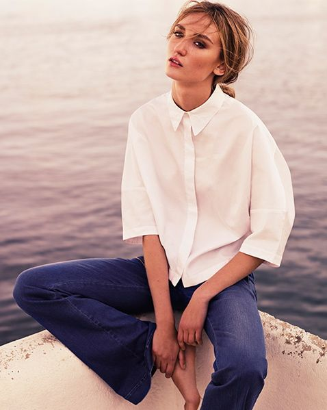 Stella McCartney - Cotton blouse and utility high-rise flared Jeans - Denim| @andwhatelse