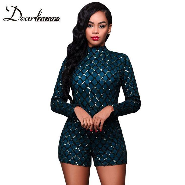 Dear lover Dark Green Diamond Sequins Rompers Womens Jumpsuit Autumn 2017 High Neck Long Sleeves Bodysuits Combinaison LC64189