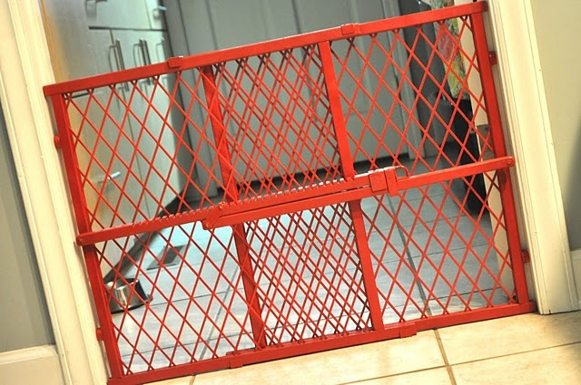 cute idea, spray paint your baby (or puppy) gate. WHY have I never thought of this?!