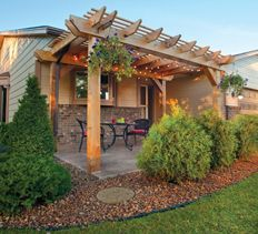 Front Porch Pergola Project How to build a front yard pergola project that will add a lively living space and curb appeal to your home.