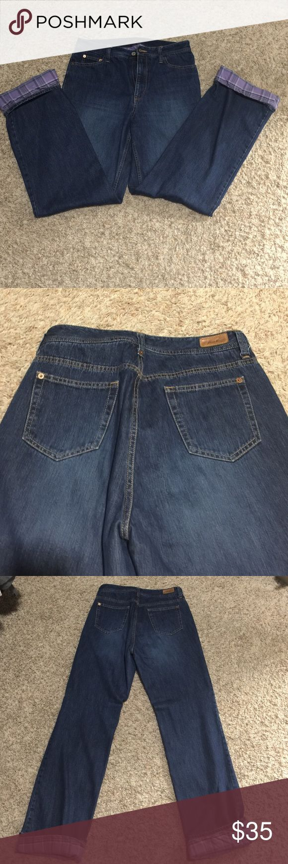Eddie Bauer flannel lined jeans These warm flannel lines jeans are in perfect condition worn maybe twice. Eddie Bauer Pants Wide Leg