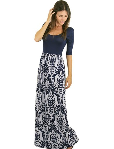 Buy this cute Navy Printed Maxi Dress from Saved by the Dress Boutique. Awesome navy dress for everyday wear. Must have maxi dress with 3/4 sleeves