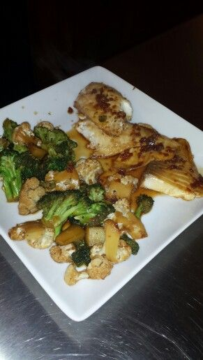 Grilled tilapia with Shiitake mushrooms,  broccoli and cauliflower with a low sodium teriyaki sauce.