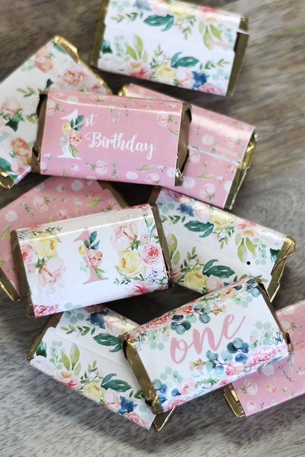 Watercolor Floral 1st Birthday Party Mini Candy Bar Wrappers 45 Count First Birthday Party Favor 1st Birthday Party Favors 1st Birthday Party Favors Girl