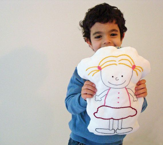 Lola  Hand Embroidered Pillow by ALittleWorld on Etsy, $24.00