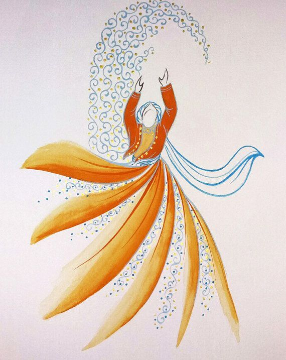 Free Shipping - Original Painting Whirling Dervish Sufi Dance Rumi Miniature (AESMPS0023)