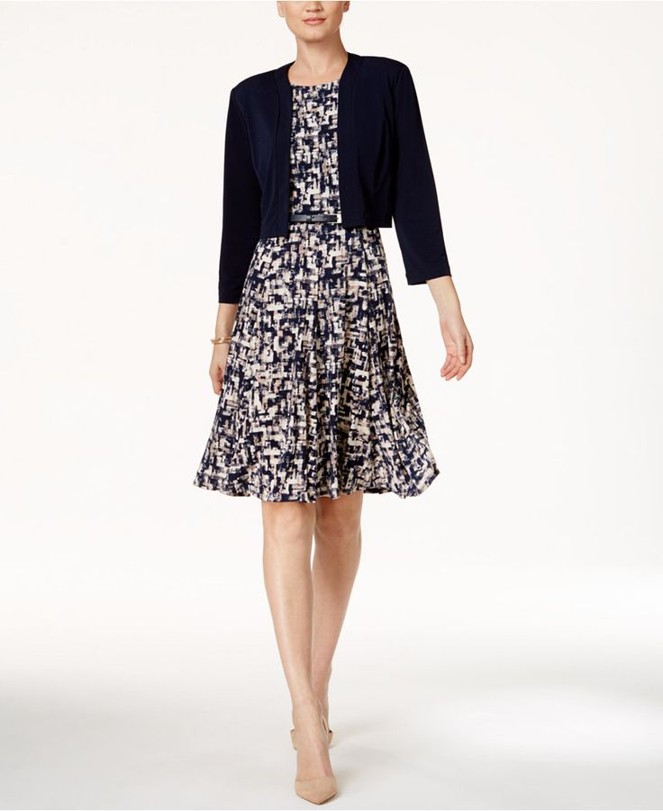Jessica Howard Printed A-Line Dress And Bolero Jacket