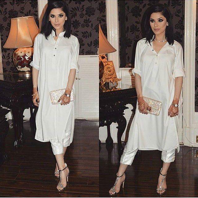 Crispy white kurtas with cigarette Capri pants #fusionfashion #eastmeetswest #outfits