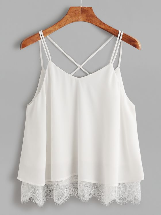 Online shopping for White Lace Trim Crisscross Notch V Back Cami Top from a great selection of women's fashion clothing & more at MakeMeChic.COM.