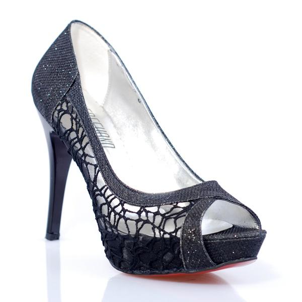 Freehand Women Shoes, Abiye, Siyah Simli Dantel