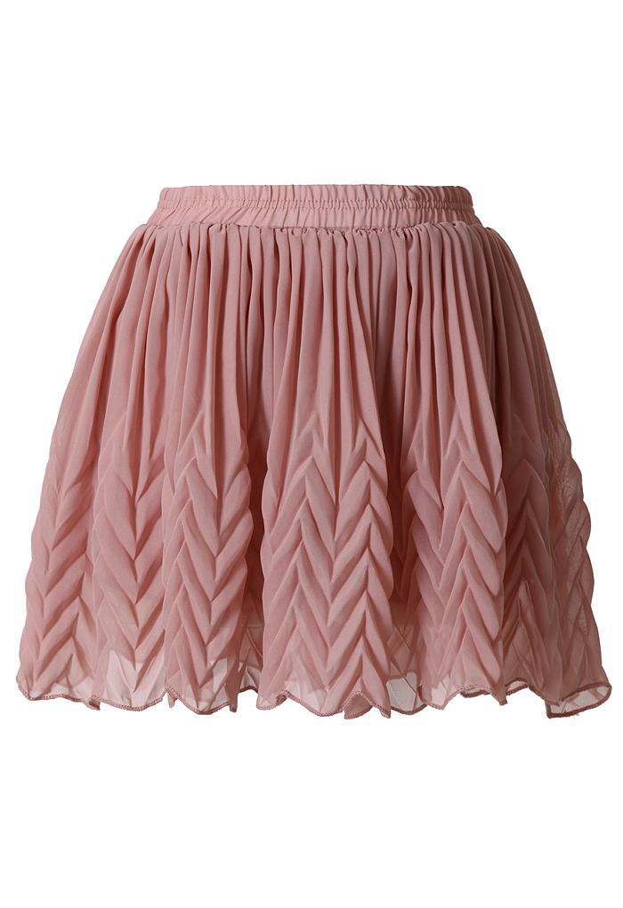pleated chiffon mini skirt in pink skirt bottoms