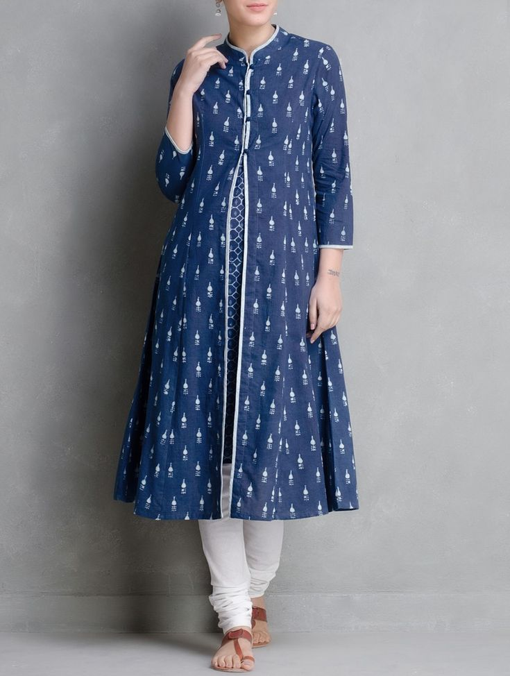 Buy Indigo Hand Block Printed Cotton Kurta With Jacket Set of 2 by Aavaran Apparel Tunics & Kurtas Muse Dabu Dyed Skirts More from Akola Rajasthan Online at Jaypore.com
