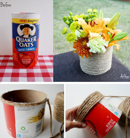 Make a Roped Vase from a Recycled Oatmeal Container | 35 DIY Fall Decorating Ideas for the Home | Fall Craft Ideas for Adults