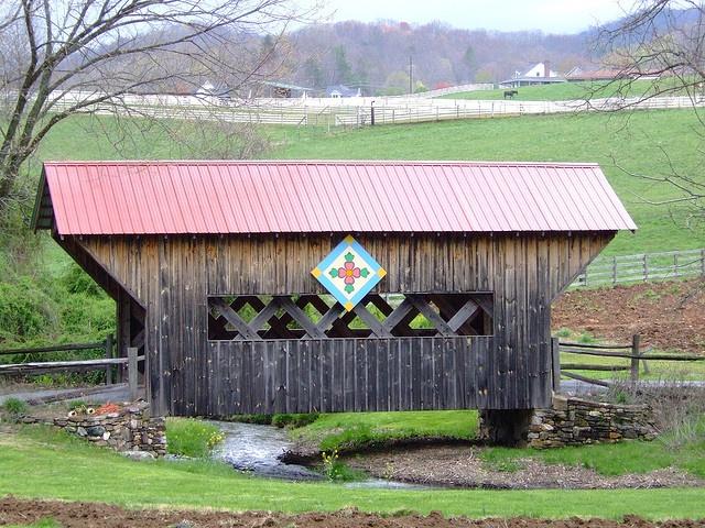 Quilt Bridge in Unicoi, TN. Near the NC state line, near Johnson City. Near Roan Mountain, home of the real Waltons.