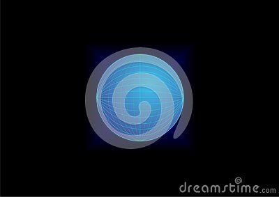 Vector blue Orb with mesh and diamond gradient background.