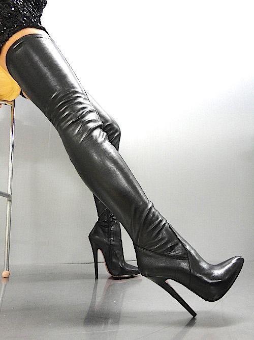 MORI OVERKNEE EXTREME HEELS ITALY STIEFEL BOOTS STRETCH LEATHER BLACK SCHWARZ 43   Kleidung & Accessoires, Damenschuhe, Stiefel & Stiefeletten   eBay!