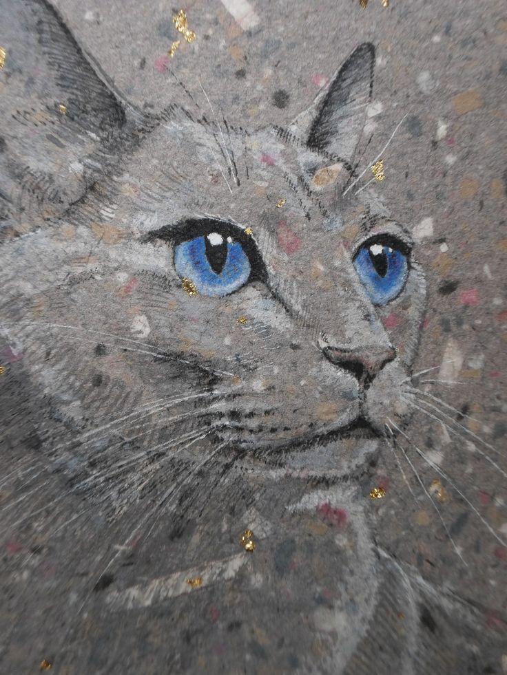 Cat watercolor painting original artwork. $50.00, via Etsy.