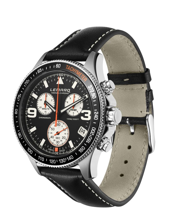 A classic sporty look with the black Monza Chrono on a black leather strap.   See more: http://www.lemarqwatches.com/