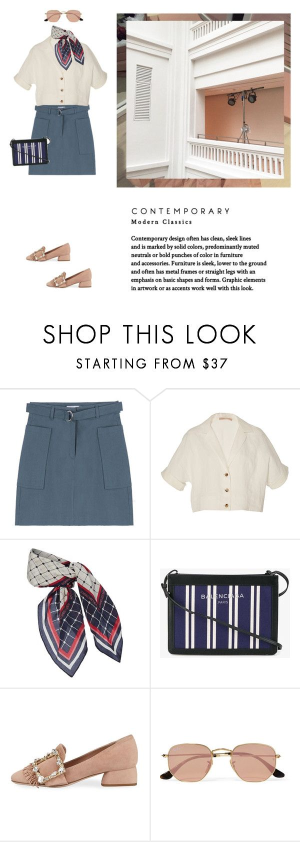 """""""Untitled #2205"""" by yenybarriot on Polyvore featuring Brock Collection, Tommy Hilfiger, Balenciaga, Miu Miu and Ray-Ban"""