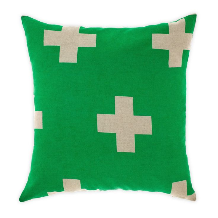 Add a pop of Emerald Green to your sofa spread with this Cross-design Cushion by Aura Home. #LinenRoom