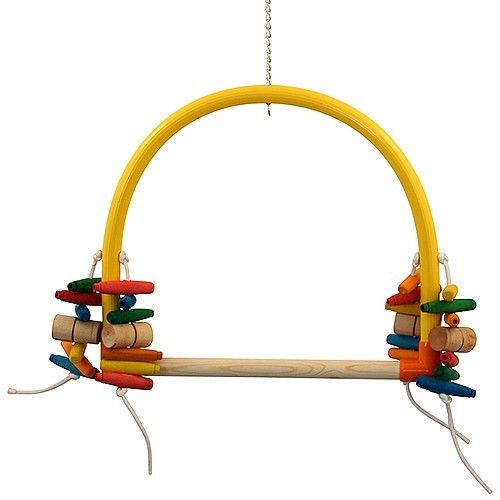 Arched Parrot Perch Play Swing - Giant  Brightly coloured arch parrot swing with a wooden perch for larger parrots.