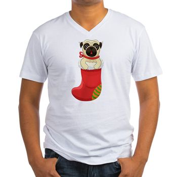 Christmas Pug Men's V-Neck T-Shirt from cafepress store: AG Painted Brush T-Shirts. #pug #Christmas #dog #tshirt