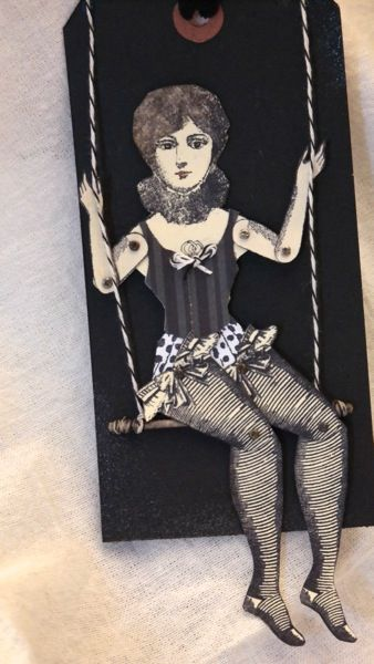 character construction trapeze artist paper doll by DuhBe.  Catherine Moore stamps: cirque#3, bird&bee#14 (legs)