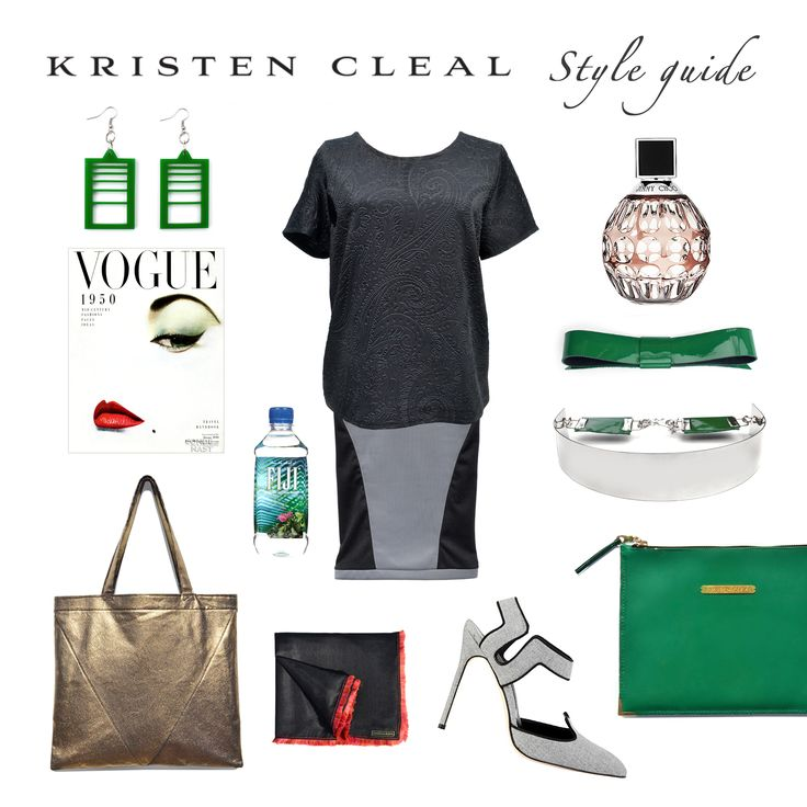 STYLE GUIDE ~ Urban Edge in Grey + Green   Vintage Vogue 1950. FIJI Water $4. Manolo Blahnik Shoes. Perfume, JIMMY CHOO $136. All other products are Kristen Cleal Designs including Leather Flat Bows (3 Pack) $29.95, Brooklyn Clutch $99, Chelsea Scarf $49.95, Empire Belt $49.95, Hampton Tote $79.95, SoHo Skirt $79.95, Brooklyn Box Top $89.95, High Rise Earrings $25. SHOP Kristen Cleal Designs at www.kristencleal.com.au