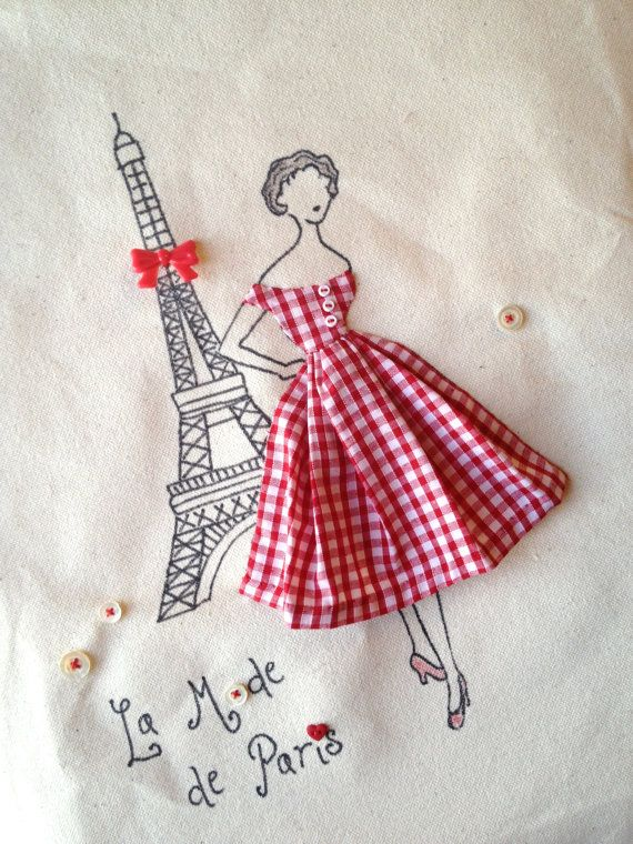 A retro fashion bag with a fifties Paris touch: Eiffel tower with a red bow, red gingham dress, cute novelty buttons and vintage mother of