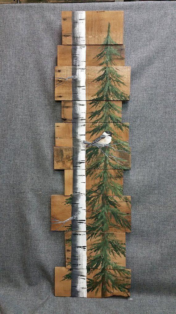Hohe weiße Birke und Kiefer, handgemalter Chickadee, Palettenholzwandkunst, Sch…