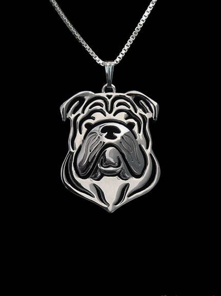 Geometrische zilver Plated Engelse Bulldog hanger Honden