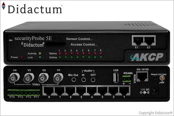 Die securityProbe-5E (Art. Nr: 10301) vereinigt Videoüberwachung, Umgebungsüberwachung, Sicherheitsüberwachung, Stromüberwachung sowie Zutrittskontrolle in einer einzigen IT Monitoring Lösung. Sie können dieses Gerät mit einer großen Anzahl IP-fähigen AKCP Sensoren betreiben.