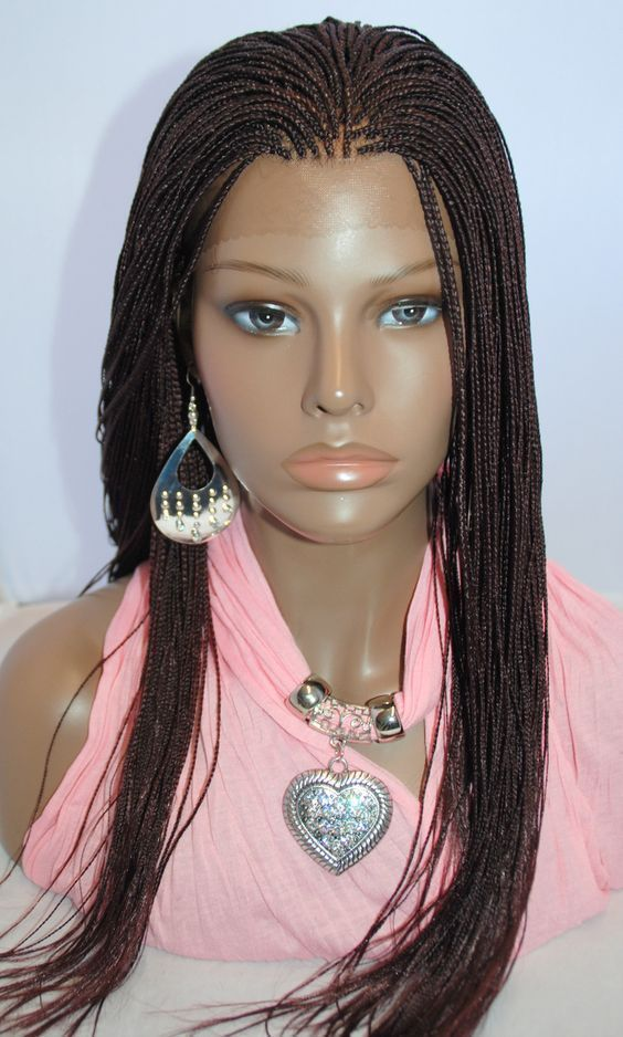 Braided Lace Front Wig Micro Braids Color 99j In 20 Inches