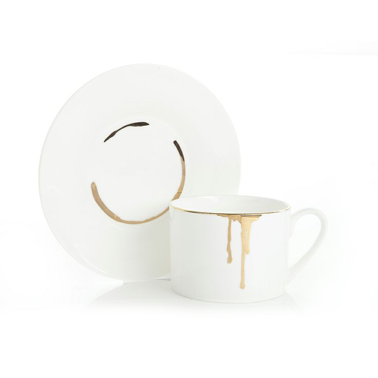 LOVE! Great mix of high and low Drip Tease cup and saucer in gold | Reiko Kaneko