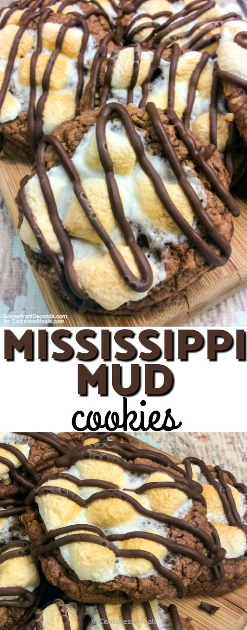 Mississippi Mud Cookies are a dual chocolate sensation! A semi sweet chocolate chip cookie base crowned with toasty marshmallow bits and drizzled with luscious milk chocolate create a rich, fudgy hand-held treat! #Holiday #Cookies #EasyTreat #Chocolate