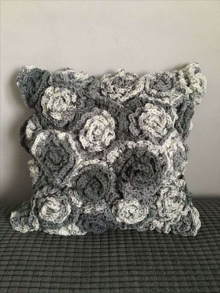 Crocheted flower cushion cover