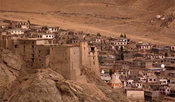 Leh Palace overlooks the Ladakhi Himalayan town of Leh