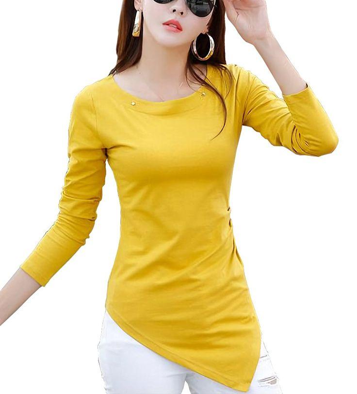 Amazon | ( マゴット ) Maggot ロング Tシャツ レディース 無地 スリム ストレッチ 長袖 3カラー 4サイズ | Tシャツ・カットソー 通販