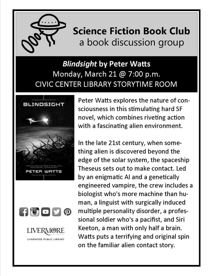 Science Fiction Book Club. Livermore Public Library. 3/21