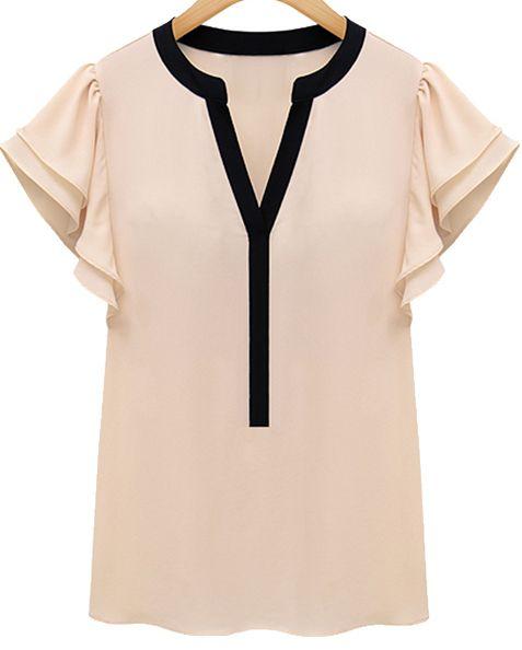 Pink Ruffle Short Sleeve V-neck Blouse 14.33