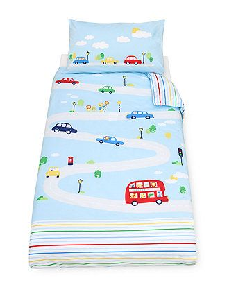 a beautifully curated duvet cover and pillowcase to add the finishing touches to your little one's cot bed or toddler bed