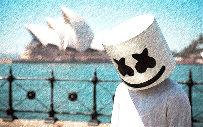 Download wallpapers paintings, Marshmello DJ, art, Marshmello, progressive house