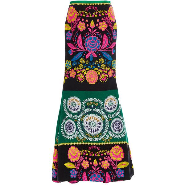 Cynthia Rowley French-Mex Trumpet Skirt ($850) ❤ liked on Polyvore featuring skirts, print, neon skirt, patterned skirts, embroidered skirt, print skirt and cynthia rowley