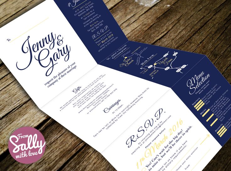 Bespoke map for Jenny and Gary's wedding invitations.     #wedding #map #bespoke #blue #white #yellow #unusual #folded #contemporary #rsvp #postcard #love #engaged #designer #professional #somerset #wick #farm #bath  http://www.fromsallywithlove.co.uk